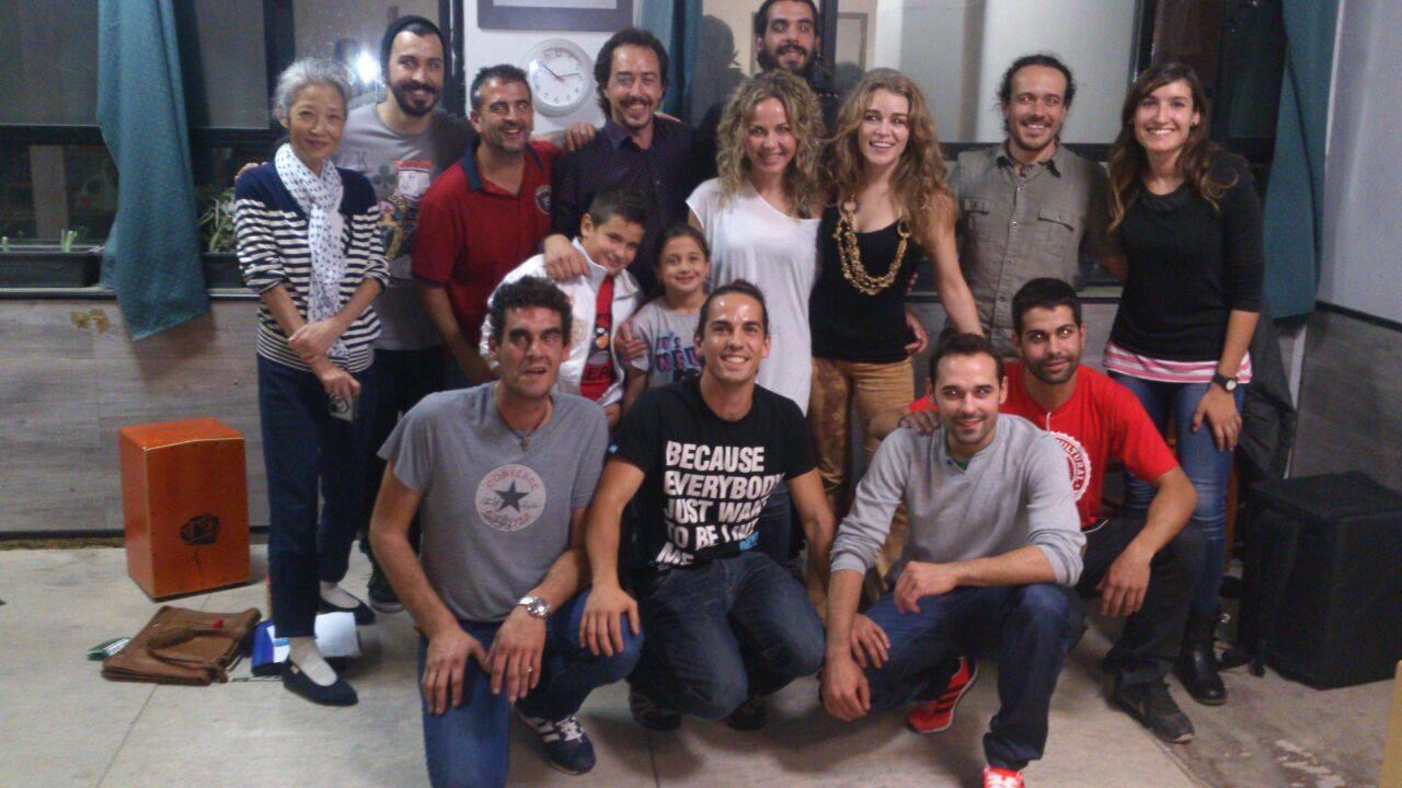 Heidi gives her first cajon masterclass in Flamenco School 'Amor De Dios' in Madrid, Spain