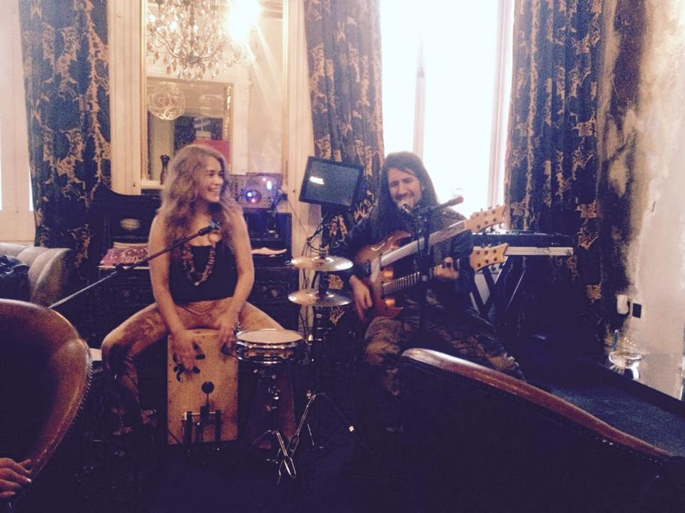 Playing cajon with 'Bumblefoot' Ron Thal from Guns and Roses.