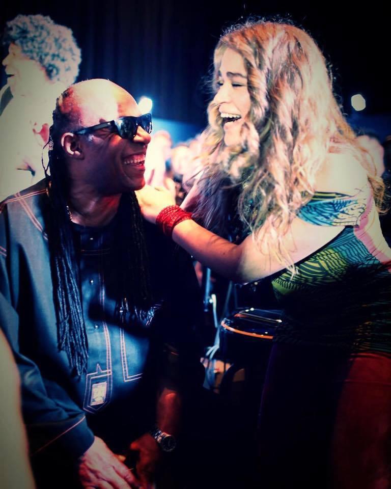 Heidi onstage with Stevie Wonder @ Namm 2016